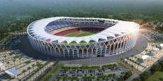 La maquette du futur stade olympique d'Ebimpé, totalement supporté sous forme de don par la Chine et dont les travaux, lancés début 2017, devront durer 34 mois.