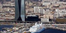 Le siège de l'entreprise de transport maritime CMA CGM dans le port de Marseille, en France