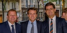 Emmanuel Macron, président de la République, entouré à gauche de Patrice Bégay, directeur exécutif Bpifrance, et Nicolas Dufourcq directeur général de Bpifrance