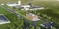 Le projet d'usine avec les bâtiments administratifs au 1er plan, la nouvelle usine en 2nd plan et l'usine actuelle en arrière-fond.