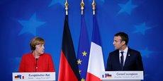 Angela Merkel et Emmanuel Macron, lors du dernier Conseil européen, en juin dernier, avaient déjà évoqué la possibilité d'un changement de traité.