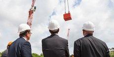 Pose de la première pierre du futur siège de Blédina, le 20 mai 2016.