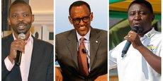 De gauche à droite, Philippe Mpayimana (candidat indépendant), Paul Kagamé (ultra-favori) et Frank Habineza (président du premier parti d'opposition)