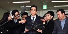 Lee Jae-Yong, vice-président de Samsung Electronics, le 13 février 2017 à Séoul lors d'une audition dans le cadre du scandale de corruption qui a causé la destitution de l'ex-présidente Park Geun-Hye.