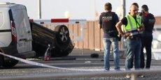 La police catalane sur le site de l'attaque de Cambrils qui a eu lieu jeudi 17 août 2017.