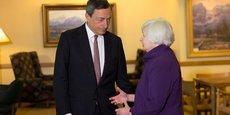 Mario Draghi (BCE) et Janet Yellen (Fed) à l'heure arrivée hier à Jackson Hole, une station alpestre dans le Wyoming.