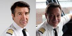 De gauche à droite, Bernard Pédamon* et Philippe Raffin, commandants de bord à Air France.