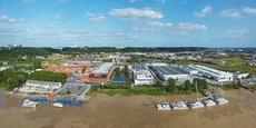 Vue aérienne du chantier naval CNB à Bordeaux rive droite