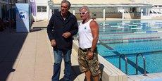 Philippe Saurel, président de la Métropole, et Philippe Lucas, nouvel entraîneur du 3MUC, au centre nautique Neptune, qui entame sa rénovation (12 M€ HT)