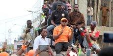 Jean-Pierre Fabre, président de l'Alliance nationale pour le changement (ANC), prononçant un discours lors d'une manifestation de l'opposition, le 7 septembre 2017 à la Lomé, la capitale togolaise.