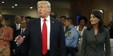 Le président américain Donald Trump et Nikki Haley, ambassadrice des Etats-Unis aux Nations unies le 18 septembre 2017, à New York.