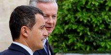 Nous baisserons la dépense publique de 0,7 point du PIB en 2018, sur un objectif de 3 points d'ici à 2022, a déclaré lundi le ministre des Comptes publics Gérald Darmanin (au premier plan), dans un entretien accordé, avec le ministre de l'Economie Bruno le Maire, au journal Le Monde.