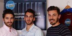 Mickaël Bardes, Kévin Fournier et Adrien Gontero et  ont cofondé La Centrale du Sport.