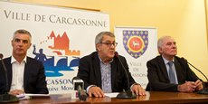 Laurent Boissonnade (Leclerc Carcassonne), Lucien Ferrandis (Sofilit) et Gérard Larrat (maire de Carcassonne), lors de la conférence de presse donnée par la Ville de Carcassonne le 20 septembre 2017, sur la zone d'activité Rocadest.