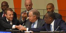 Emmanuel Macron, Antonio Gueterres, le secrétaire général de l'ONU, et le président sénégalais Macky Sall, le 20 septembre 2017, au siège de l'ONU à New York.