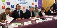 Parmi les élus signataires : R. Ménard, F. Commeinhes, P. Saurel, D. Mouly, ou P. Miralles.