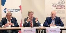 Robert Bassols,président de la Chambre de Métiers et de l'Artisanat des P-O, Bernard Fourcade, président de la CCI des P-O et Laurent Gauze, président de Perpignan Méditerranées Invest.