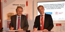 Jean-Luc Estournet (Les Villages d'Or) et Manuel Flam (SNI-Grand Paris Habitat), ont signé un partenariat le 27 septembre 2017.