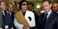 Mouammar Kadhafi et Nicolas Sarkozy au Palais Bab Azizia à Tripoli, le 25 juillet 2007.