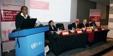Vera Songwe, secrétaire exécutive de la Commission économique pour l'Afrique de l'ONU, lors de son allocution devant les participants au 32e comité intergouvernemental d'experts, organisé par le Bureau de la CEA en Afrique du Nord, le 3 octobre 2017 dans la capitale du Maroc, Rabat.