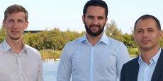 Bertrand Pladeau (à gauche), le directeur des opérations de Dejamobile, Ahmad Saif, le directeur technique, et Houssem Assadi (à droite), le directeur général de la startup fondée en 2012 au sein de Normandie Incubation.