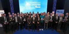 Les lauréats des Trophées de l'aéronautique 2017.