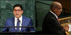 Les chefs des deux diplomatie des voisins d'Afrique du Nord. Nasser Bourita, (à gauche) marocain des affaires étrangères et Abdelkader Messahel, son homologue algérien, dont les déclarations ont povoqué une levée de boucliers de la partie marocaine.