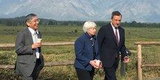 De gauche à droite, le gouverneur de la Banque du Japon Haruhiko Kuroda, la présidente de la Fed Janet Yellen et le président de la BCE Mario Draghi, lors de la réunion des banquiers centraux à Jackson Hole en août dernier.