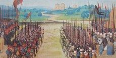Bataille d'Azincourt, miniature tirée de l'Abrégé de la Chronique d'Enguerrand de Monstrelet, XVe siècle, Paris, BnF, département des Manuscrits.