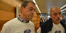 Gilles Lambersend et Philippe Poutou à la sortie du comité de suivi, pas vraiment convaincus par l'annonce de Ford Europe.