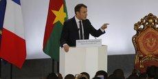 Le président français Emmanuel Macron lors de son discours à Ouagadougou, au Burkina Faso, le 28 novembre 2017.