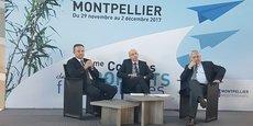 De gauche à droite : Emmanuel Brehmer (Président du Directoire d'AMM), Thomas Juin (Président Les aéroports francophones), Pierre Vieu (Président du Conseil de surveillance d'AMM).