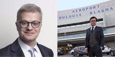 Christophe Lèguevaques, avocat du collectif anti-privatisation (à gauche) et Mike Poon (à droite) président de Casil Europe l'actionnaire chinois qui détient 49,99% de l'aéroport depuis 2015.