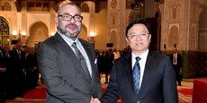 Le Roi Mohammed VI et le Président du groupe BYD, Wang Chuanfu, au palais Royal de Casablanca.
