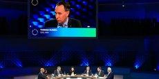 Thomas Buberl, le directeur général d'Axa annonçant ses nouveaux engagements pour le climat au One Planet Summit ce mardi.
