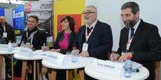 Les signataires du partenariat économique entre MPEI (Région Occitanie) et Quadran (EolMed), le 13 décembre, sur le salon Energaïa à Montpellier.