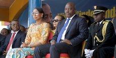 Le président de la RDC Joseph Kabila et la Première Dame, Marie Olive Lembe, lors des célébrations de l'indépendance du pays, le 30 juin 2016 à Kindu, la capitale de la province de Maniema.