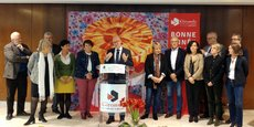 Jean-Luc Gleyze, le président PS du conseil départemental de la Gironde, entouré de ses vice-présidents, le 8 janvier 2018.