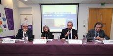 Gilbert Pastor, Chantal Marion, Philippe Saurel et Max Lévita, lors de la présentation des chiffres 2017 de l'Observatoire de l'immobilier et du foncier d'entreprise, le 1e février 2018.