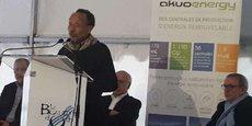 Pierre Rabhi, lors de la pose de la 1e pierre du parc photovoltaïque du Bousquet d'Orb (34) le 9 février 2018.