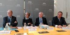 De gauche à droit : Jean-Marc Sauvé, président du Conseil d'Etat, Marie-Anne Guérin, président de la CAA de Bordeaux, Bruno Lasserre, président de la section de l'intérieur du Conseil d'État, et Jean-François Desramé, président du TA de Bordeaux.