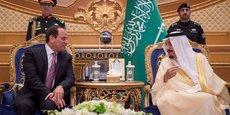 Le président égyptien Abdel Fattah al-Sissi et le roi Salmane Ben Abdelaziz Al Saoud, le 23 avril 2017 à Riyad, la capitale de l'Arabie saoudite.