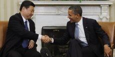 La poignée de main entre Xi Jinping et Barack Obama, mardi, à Washington.  Photo : Reuters