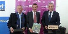 Jean-Luc Cousquer, président de l'Office du tourisme de la Métropole, Yann Monod, directeur général de la RENFE-SNCF en coopération, Philippe Saurel