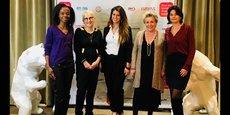 Soirée des remises des Trophées PFDM en présence de Marlène Schiappa, secrétaire d'Etat à l'égalité entre les femmes et les hommes, entourée de Mercedes Erra et François Laborde