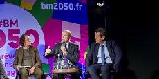 Djamel Klouche, Alain Juppé et Jacques Mangon lors du lancement de Bordeaux 2050 à l'Aréna de Floirac.