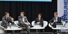 Jean-Pierre Frémont (directeur Collectivités d'EDF), Luc Belot (auteur du rapport De la smart city au territoire d'intelligence(s), Clotilde Cazamajour (fondatrice d'Urbanlaw Avocats) et Jacques Mangon (vice-président de Bordeaux Métropole)