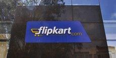 Flipkart, startup fondée en 2007 par deux anciens employés d'Amazon, Sachin Bansal et Binny Bansal, est devenue le numéro un de la vente vie Internet en Inde, contrôlant près de 40% du marché (ici son logo sur la façade du siège de la société à Bengaluru, en Inde, en avril 2015).
