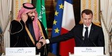 Le prince héritier Mohammed ben Salmane reçu par Emmanuel Macron, lors de sa visite officielle en France du 8 au 11 avril. 19 protocoles d'entente ont été signés à cette occasion, d'un montant estimé à 18 milliards de dollars. Bien loin des 90 milliards de dollars signés à Londres ou encore des 600 milliards de dollars signés aux Etats-Unis.