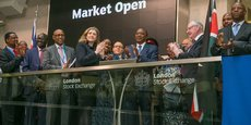 Le président kényan Uhuru Kenyatta à la London Stock Exchange en avril 2018.